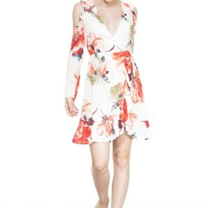 OPEN SHOULDER LONGSLEEVE FLOWER PATTERN WRAP DRESS